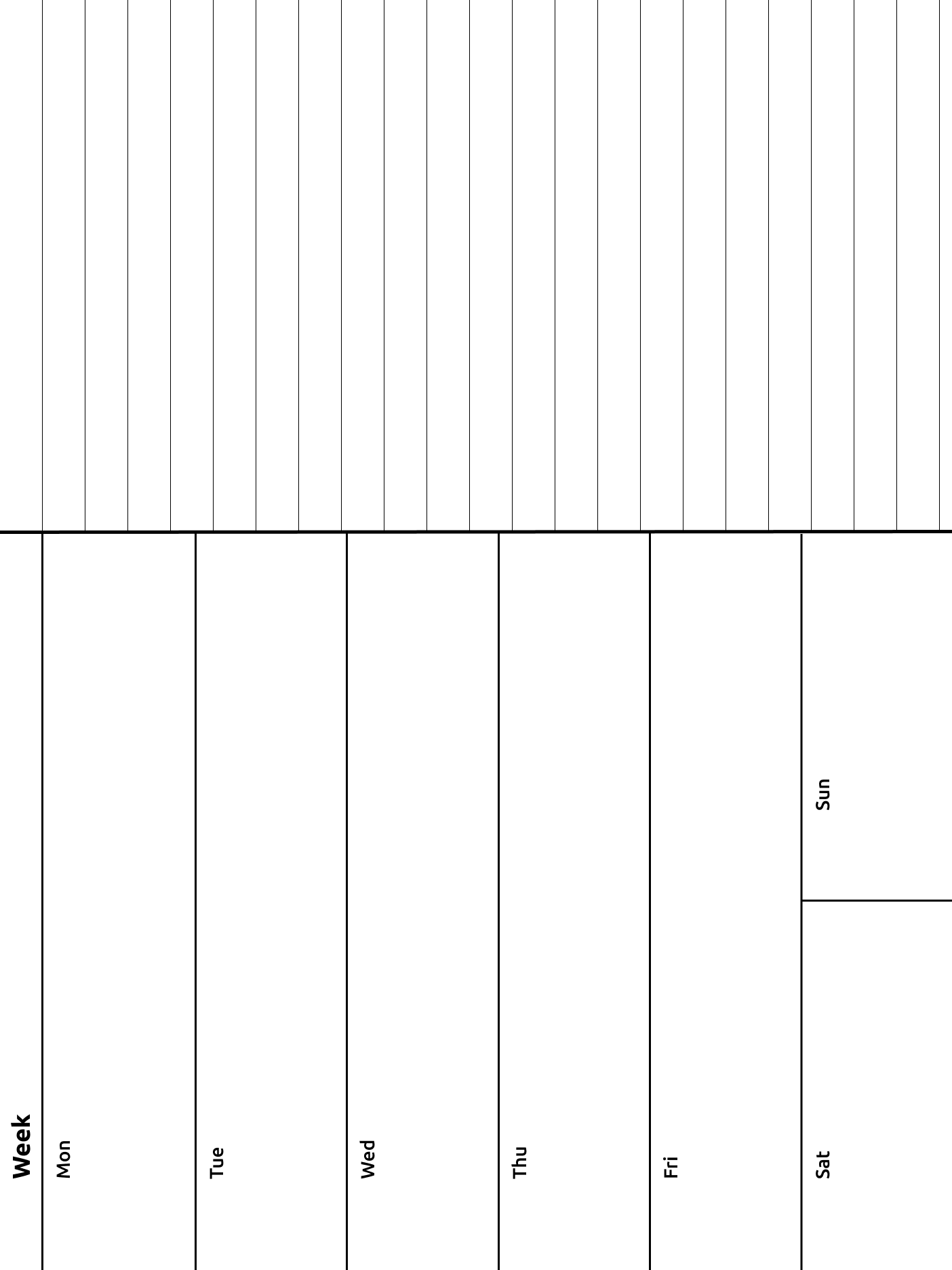 A weekly journal template: left hand side has 6 rows, Mon - Fri, plus Sat & Sun sharing a row; right hand side has 22 row of blank lines to write on.
