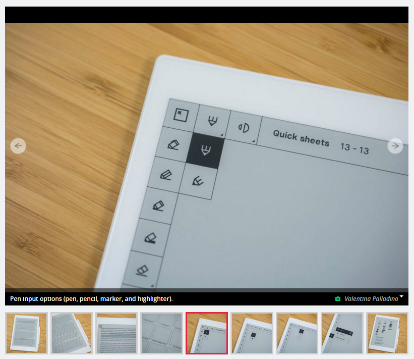 Screenshot of reMarkable 1 review, showing the drawing UI, in which each icon has a square border around it.